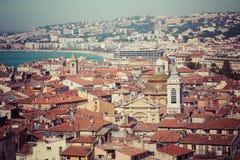 GENTIL, LA FRANCE - 4 JUIN 2019 : Vue de vieille ville à Nice ` Azur France de Cote d france image stock