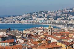 GENTIL, LA FRANCE - 4 JUIN 2019 : Vue panoramique Nice de littoral et de plage ` Azur France de Cote d france photographie stock
