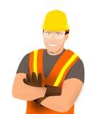 gentil ouvrier d'équipement d'isolement par construction Image stock