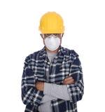 gentil ouvrier d'équipement d'isolement par construction Images libres de droits