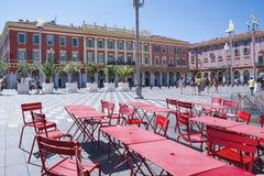 Gentil, Provance, Alpes, Cote d'Azur, Français, le 31 juillet 2018 ; Une vue de la place de Massena d'endroit à Nice avec les tab photos stock
