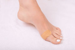 Gentille femme prenant soin de ses jambes Photos stock