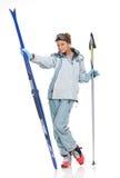 Gentille fille avec des skis Images libres de droits