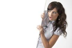 Gentille fille avec le blanc pour le texte ou l'image Photo libre de droits