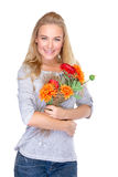 Gentille fille avec le bouquet floral Photo libre de droits
