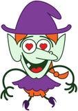 Gentille sorcière de Halloween dans l'amour Photos stock