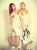 Gentils amis féminins avec des sacs à main Photo libre de droits