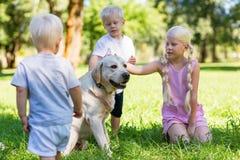 Gentils enfants jouant avec un grand chien en parc image libre de droits