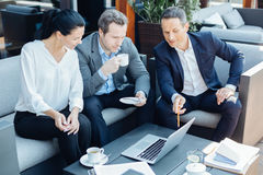 Gentils entrepreneurs futés regardant l'écran d'ordinateur portable Images libres de droits