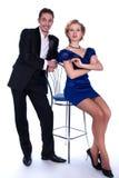 Gentils homme et femme dans une robe noire et bleue Photographie stock