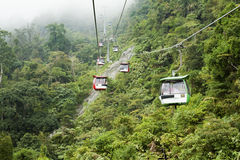 Genting Skyway cable cars. PAHANG, MALAYSIA - AUGUST 8: Visitors travel on Genting Skyway cable cars on August 8, 2013 in Pahang, Malaysia. Genting Skyway is a royalty free stock photo