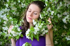 Gentle женский портрет в зацветая саде яблока Стоковая Фотография