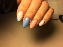 gentle маникюр в сини и пинке Стоковые Изображения