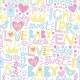 Gentle baby pattern with words and inscriptions Love, Baby, Sweet. Royalty Free Stock Photo