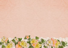 Gentle background with flowers and lace. Vintage background with flowers. greeting card. Home for the family album with place for photo and text stock photo