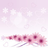 Gentle background with hearts and lilac colors Royalty Free Stock Photo