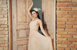 Gentle beautiful brinette in delicate chiffon long dress Stock Photography