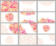 Gentle beautiful vector set of business cards. Templates with pink petals on white background. Designs for gift card, certificate, banners, flyers and vector illustration