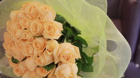 Gentle big bouquet of peach roses, close-up stock video footage
