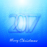 Gentle blue Christmas background with snow. 2017 new year Stock Image