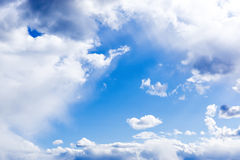 Gentle blue cloudy sky frame. Vivid and gentle blue cloudy sky Stock Photos
