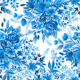 Gentle blue ditsy flowers pattern. Indigo and jeans blue floral pattern. Seamless botanical illustraion for fashion and upholstery, wedding stationery and other Royalty Free Stock Image