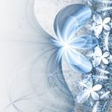Gentle blue fractal flowers. Digital artwork for creative graphic design Royalty Free Stock Photo
