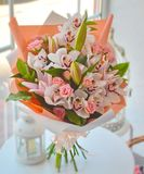Gentle bouquet of orchids and lilies royalty free illustration
