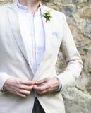 Gentle boutonniere groom с плющом Стоковое фото RF