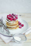 Gentle breakfast of pancakes with raspberries Stock Images