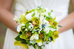 Gentle bridal bouquet in hands. Bridal bouquet of green color in hands Royalty Free Stock Image