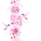 Gentle camellia, peonies and magnolia flowers. Vector design element with pink hummingbirds royalty free illustration