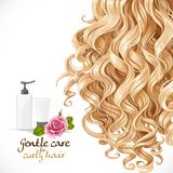 Gentle care for curly hair. Hair background Stock Photos