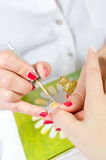 Gentle care of nails Royalty Free Stock Image