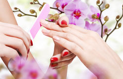 Gentle care of nails. Gentle care of nails in a beauty salon Stock Photo