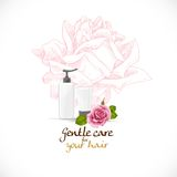 Gentle care for your hair on background with pink rose s Stock Photo