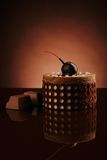 Gentle chocolate cherry cake. Chocolate cake on a dark background Royalty Free Stock Photo