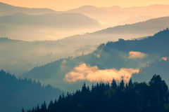 Gentle color of  Sunrise Mountains Range Landscape Stock Photos