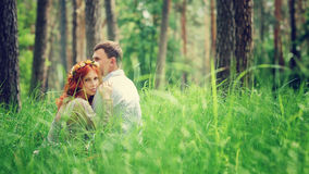 Gentle couple in the forest Royalty Free Stock Image