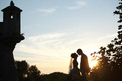 Gentle couple holding hands and kissing  on background castle an Stock Photography