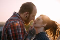 Gentle couple kiss. Youth relationships background Royalty Free Stock Image
