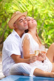 Gentle couple on tropical resort Royalty Free Stock Images