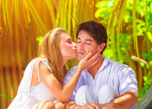 Gentle couple in vacation Royalty Free Stock Images