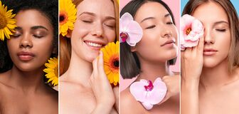 Free Gentle Diverse Women With Flowers Next To Faces Stock Photo - 173706630