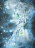 Gentle elve spirit looking up at the starlitt sky, illustration Royalty Free Stock Photos