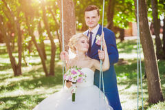 Gentle embrace bride and groom Royalty Free Stock Image