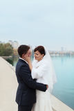 Gentle embrace bride and groom. Groom kissgroom kiss on the pier Stock Photos