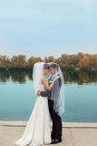 Gentle embrace bride and groom. Groom kissgroom kiss on the pier Stock Photography