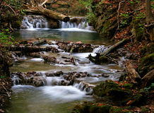 Gentle Falls. This gently flowing stream was located in the forest of Warm Springs, Virginia Stock Photos