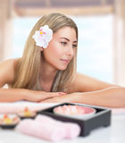 Gentle female at spa Stock Photography